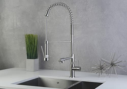DAX Commercial Style Pull Down with Double Spout Kitchen Faucet, Swivel, Stainless Steel Shower Head and Body, Brushed Finish, DAX-C001-05, Size 12 x 27-1 2 Inches