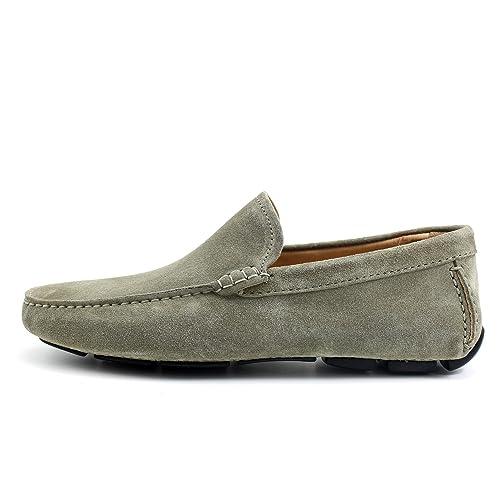 Giorgio Rea Zapatos para Hombre Car Shoes Gris Plomo Elegante Hombre Zapatos Hecho A Mano EN Italia Cuero Real Brogue Oxfords Richelieu Mocasines: ...