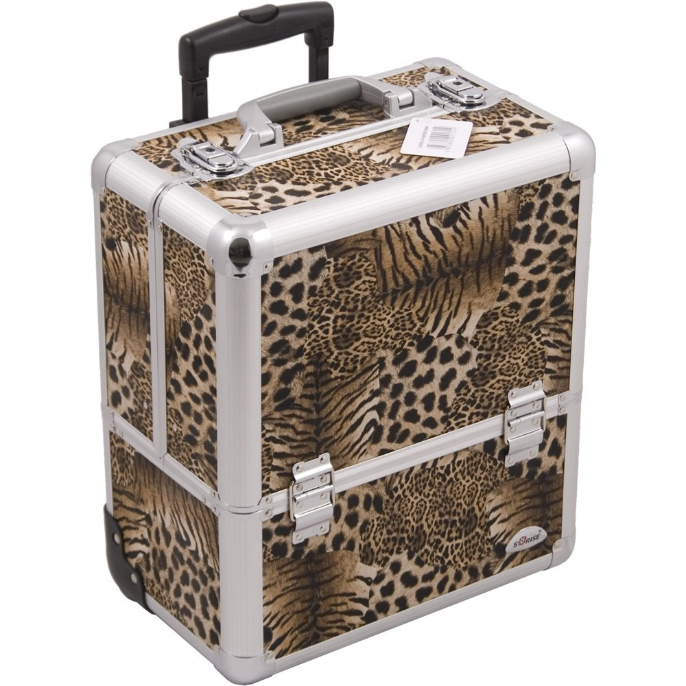 Sunrise C6006 Eight Easy Slide Extendable Trays Professional Makeup Rolling Case with Dividers, Leopard by SunRise