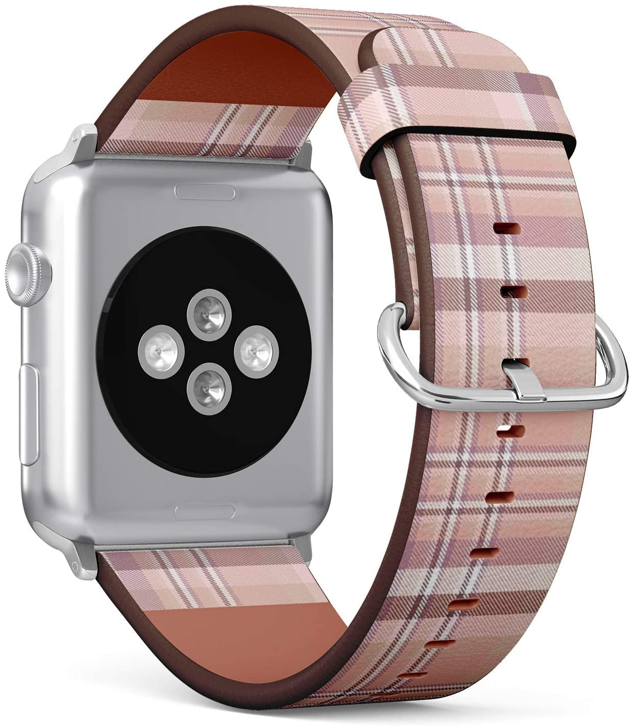Compatible with Apple Watch Series 5, 4, 3, 2, 1 (Small Version 38/40 mm) Leather Wristband Bracelet Replacement Accessory Band + Adapters - Plaid Check Pink Pale