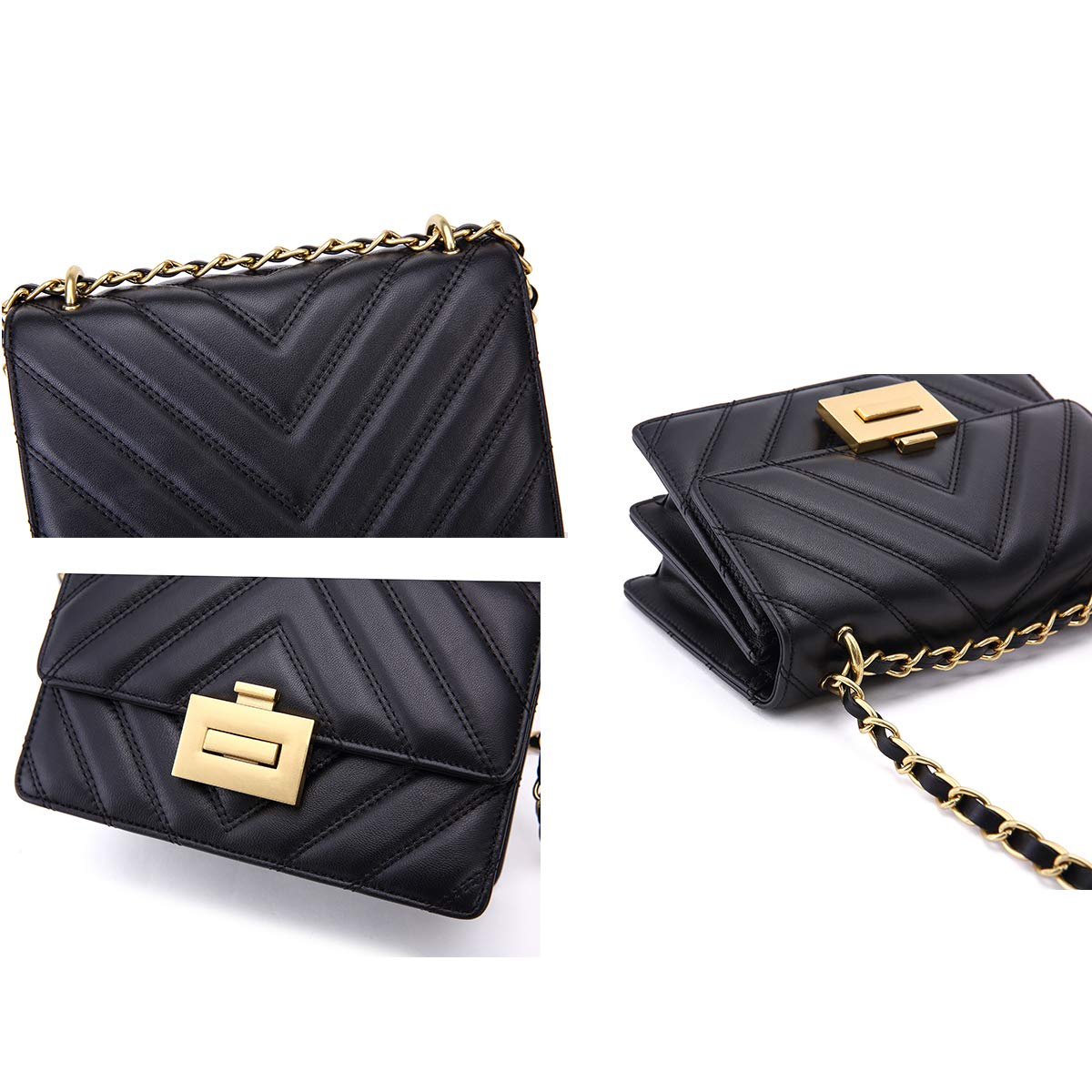 Neverout Classic Crossbody Shoulder Bag for Women Quilted Lamb Leather  Handbags Purse with 6 Card Holder Slots (NP2133) (V2-Black)  Handbags   Amazon.com 8c1b4cf2ede26