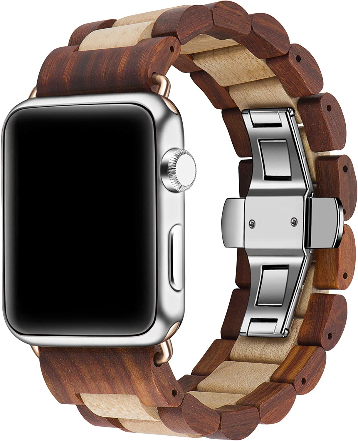 Kinobo Wooden Watch Band Compatible with Apple Watch, 100% Eco-Friendly Natural Hardwood Watch Strap Thickened Wrist Bracelet for iWatch Series 5, 4, 3, 2, 1, Sport, Edition (Sandal + Maple-42mm/44mm)