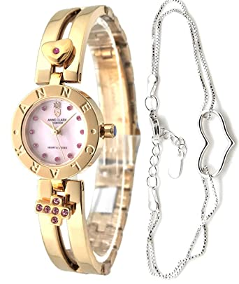 3d607b064df3 ハートブレス付 ANNE CLARK 腕時計 天然ダイヤモンド ムービングチャーム ピンクシェル レディース AM-1020