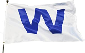 Eugenys Chicago W Win Flag (3x5 Feet) - Free Bonus Included - 100% Super Polyester Material - Large Cubs Win Banner with Durable Brass Grommets - Perfect for Hanging Indoor/Outdoor