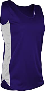product image for TR-980W-CB Women's Athletic Lightweight Single Ply Track Singlet with Side Panels (XXX-Large, Purple/White)