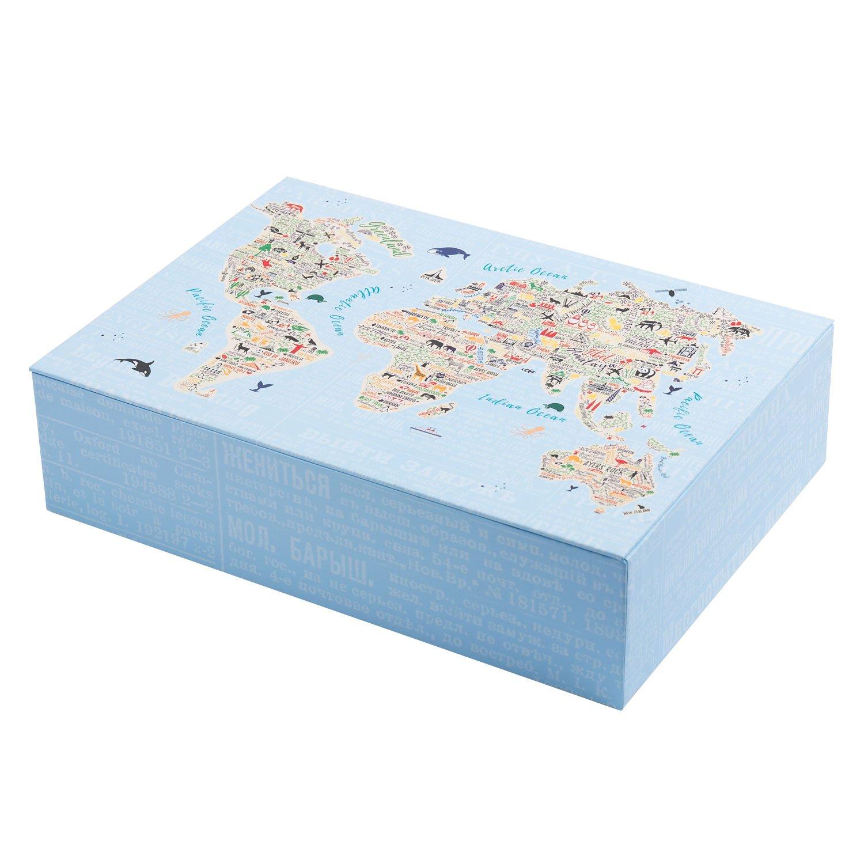 creibo cbox008–Scatola cartone grande decorata MAPPAMONDO
