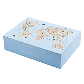 Creibo CBOX008 - Caja Cartón Grande decorada Mapa Mundo