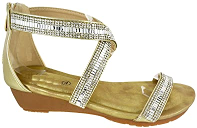 7431679983f4 Image Unavailable. Image not available for. Colour  WOMENS LADIES LOW HEEL  WEDGE FANCY SUMMER DRESS PARTY BEACH SANDALS ...