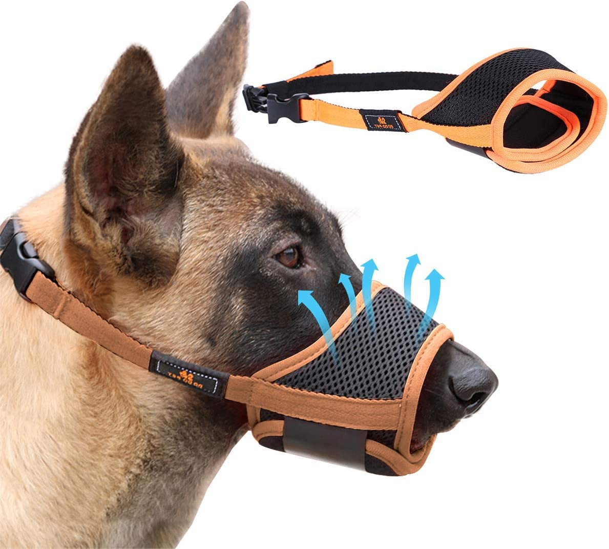 Homkeen - Bozal para perro con bucle ajustable, malla transpirable (XL, naranja)