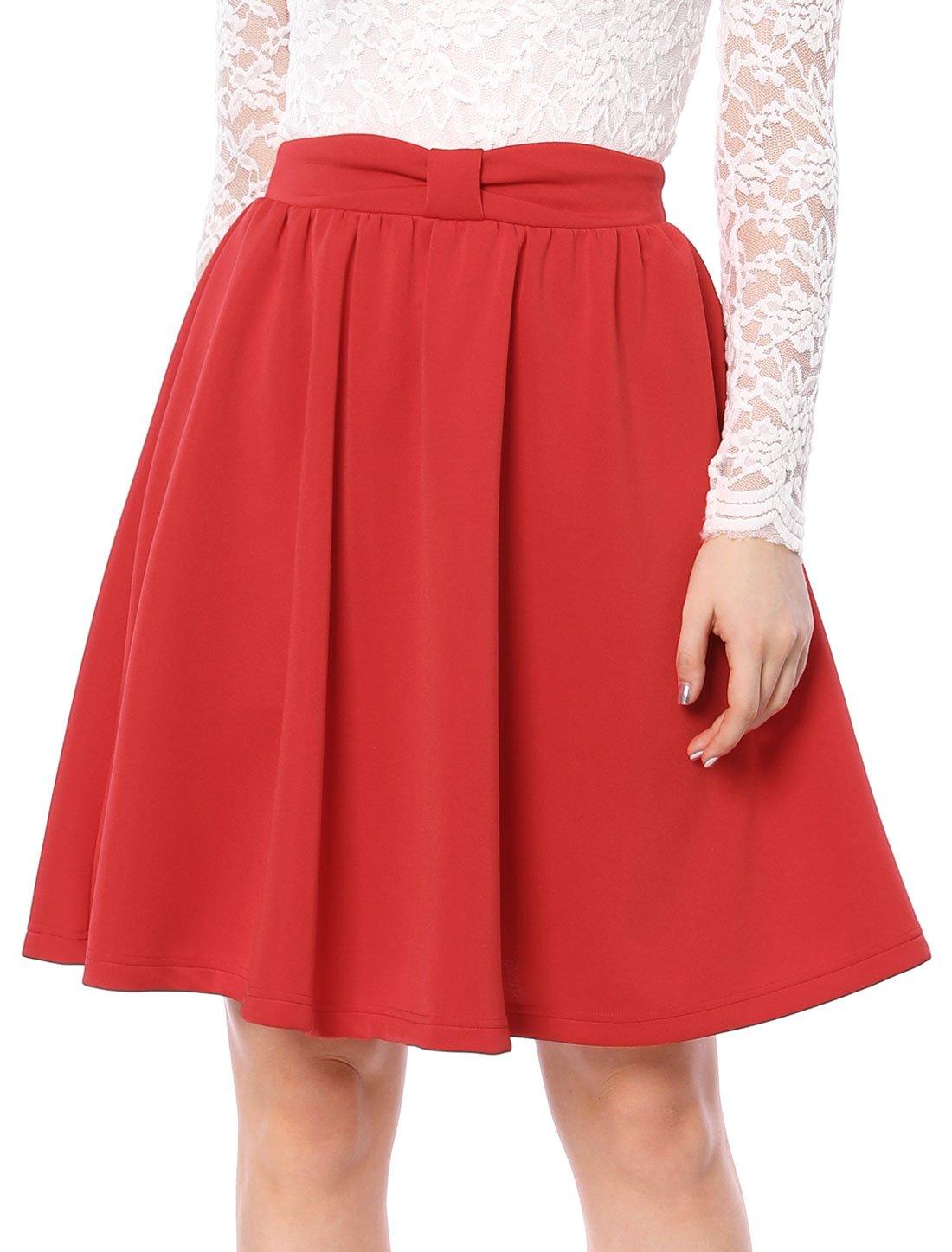 Allegra K Women's Elastic Waistband Above Knee Pleated Bow Flared Skirt M Red