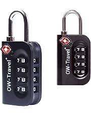 ✅ Candado TSA Combinacion Antirobo Maleta - Alta Seguridad Combinación 4 Digitos. Cerradura para Funda Maletas de Viaje, Caja Herramientas, Taquillas Vestuario, Locker : Candados Numerico Negro 2