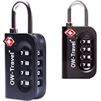 ✅ Titan PICKPROOF 4-Dial TSA Approved Combination Padlock for Luggage Suitcases and Travel - Heavy Duty - by OW Travel