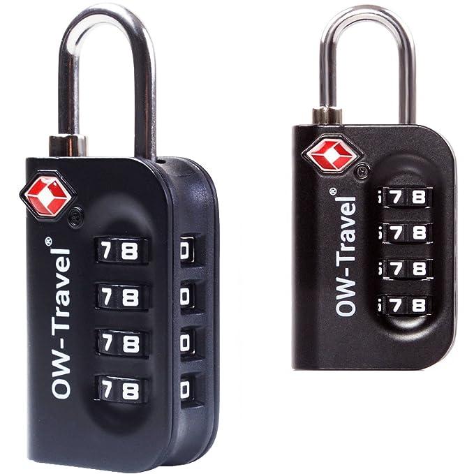 ✅ Candado TSA Combinacion Antirobo Maleta - Alta Seguridad Combinación 4 Digitos. Cerradura para Funda Maletas de Viaje, Caja Herramientas, ...