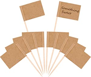 Pangda 100 Pieces Blank Toothpick Flags Cheese Markers White Flags Labeling Marking for Party Cake Food Cheeseplate Appetizers (Kraft)