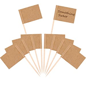 Pangda 200 Pack Checkered Toothpick Flag Party Cupcake Picks Fruit Sticks for Cupcakes Cake Toppers Decorations (Kraft)
