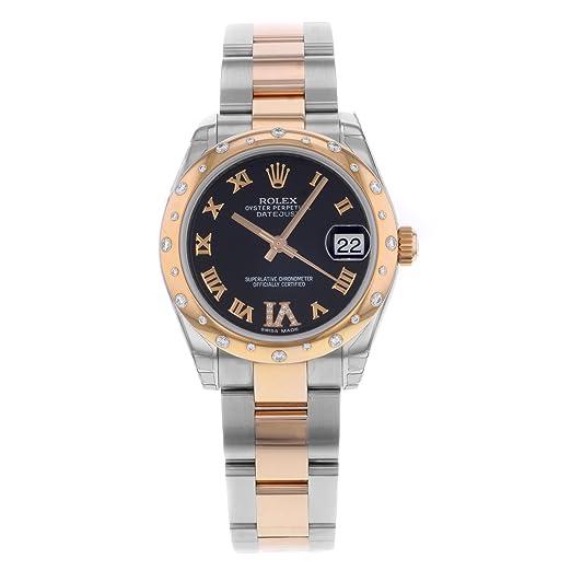 Rolex Datejust 31 mm de Acero y Oro Rosa Reloj con 24 Diamantes Bisel Chocolate Diamante Dial unworn 178341: Amazon.es: Relojes