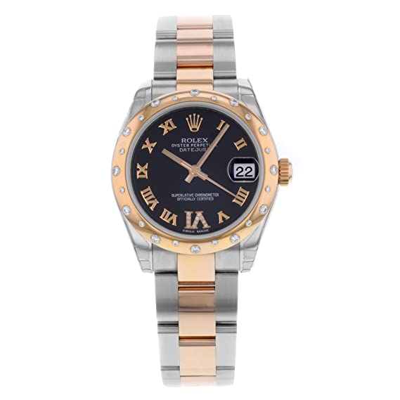 Rolex Datejust 31 mm de Acero y Oro Rosa Reloj con 24 Diamantes Bisel Chocolate Diamante