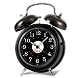 ZHPUAT Retro Twin Bell Alarm Clock with Blacklight,Dimmer and Non-ticking Hands,Loud Alarm for Heavy Sleepers,Black