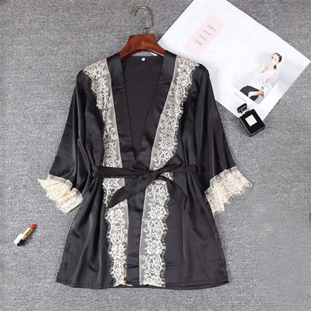 Suma-ma Women Lace Flower Sleepwear Lingerie Temptation Underwear Nightdress Bathrobe With Belt