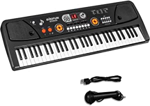 M SANMERSEN Keyboard Piano for Kids, Kids Piano 61 Keys Portable Pianos Keyboards with Microphone MP3 Function Led Display Musical Toys for 3-12 Years Old Boys Girls Kid