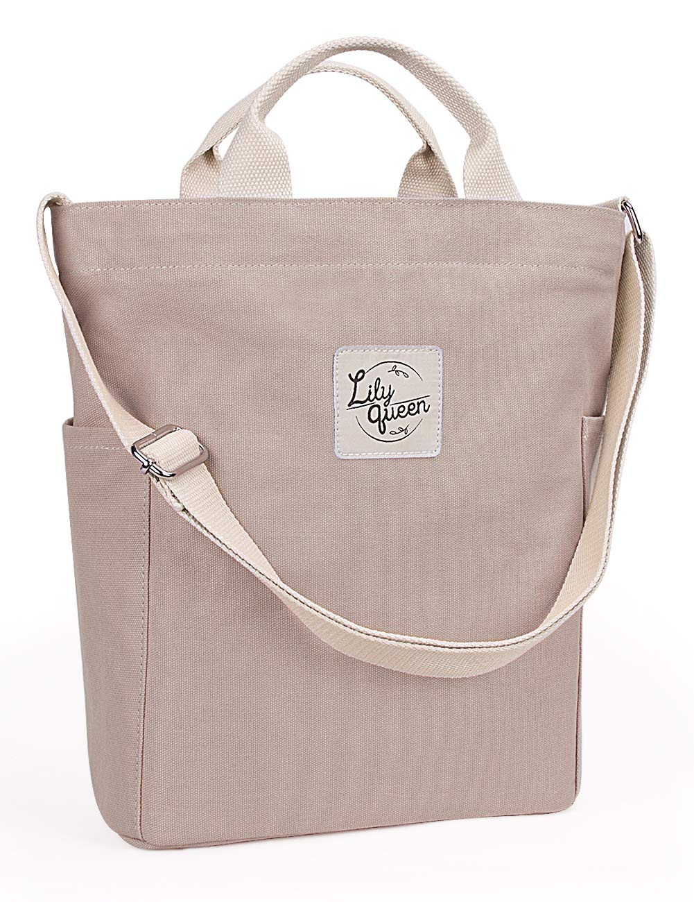 Lily Queen Women Canvas Tote Handbags Casual Shoulder Work Bag Crossbody (Taupe Grey)