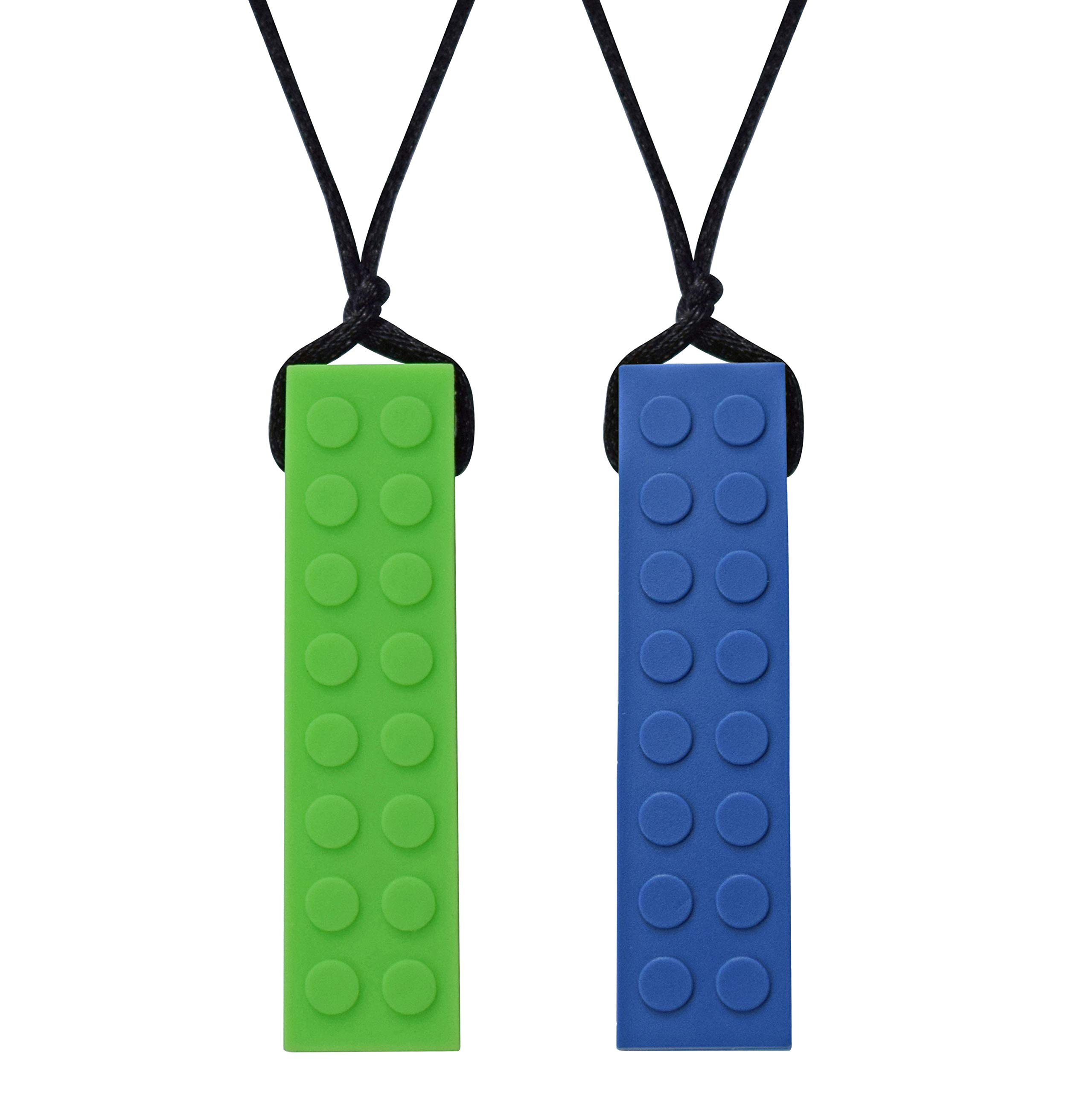 Munchables Chewelry - Chewable Sensory Chew Blockz Necklace (Navy & Green)