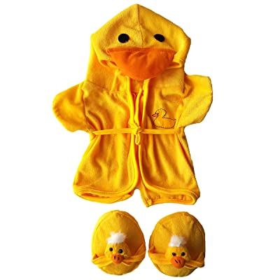 "Duck Robe & Slippers Pajamas Outfit Teddy Bear Clothes Fit 14"" - 18"" Build-A-Bear and Make Your Own Stuffed Animals: Toys & Games"
