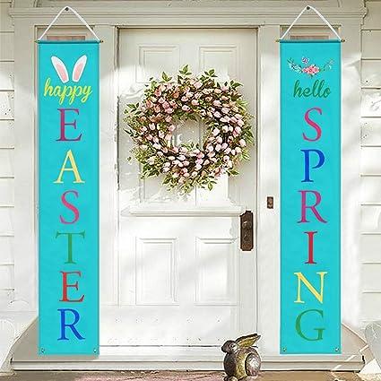 Amazon.com : Mosoan Easter Porch Sign   Easter Decorations Outdoor Indoor    Happy Easter U0026 Hello Spring Banner Sign   Easter Home Wall Door Decor :  Garden U0026 ...