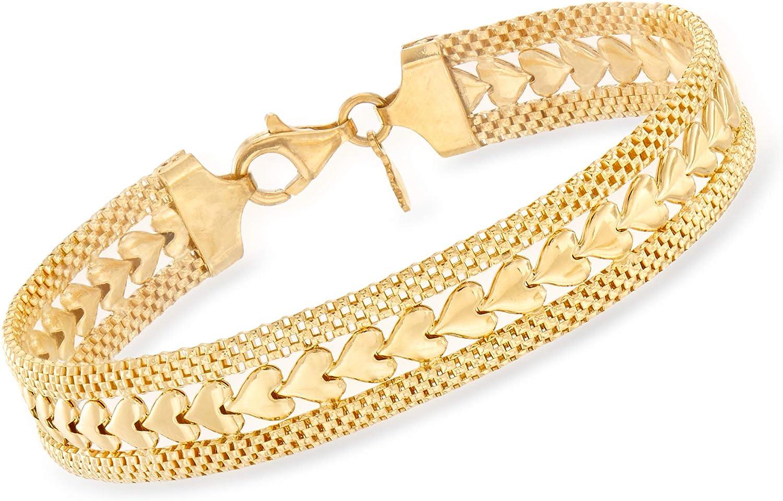 Ross-Simons Italian 18kt Gold Over Sterling Silver Heart Motif Bracelet
