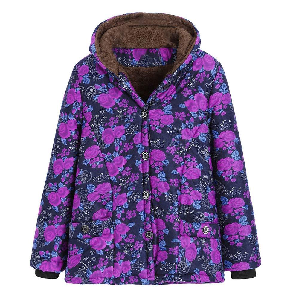 TIREOW Damen Winter Warm Outwear Blumendruck Mit Kapuze Taschen Vintage Oversize Mäntel