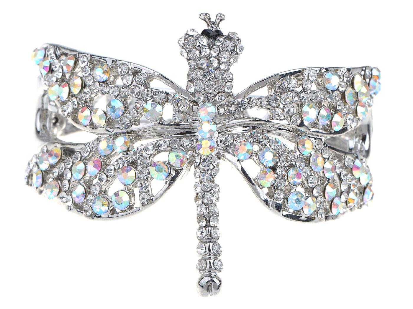 Alilang Womens Silvery Tone Clear Rhinestones Dragonfly Heart Cutout Bangle Bracelet by Alilang (Image #1)