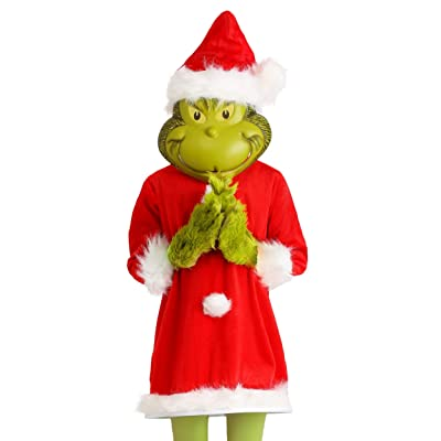 The Grinch Santa Deluxe Kids Costume with Mask: Clothing