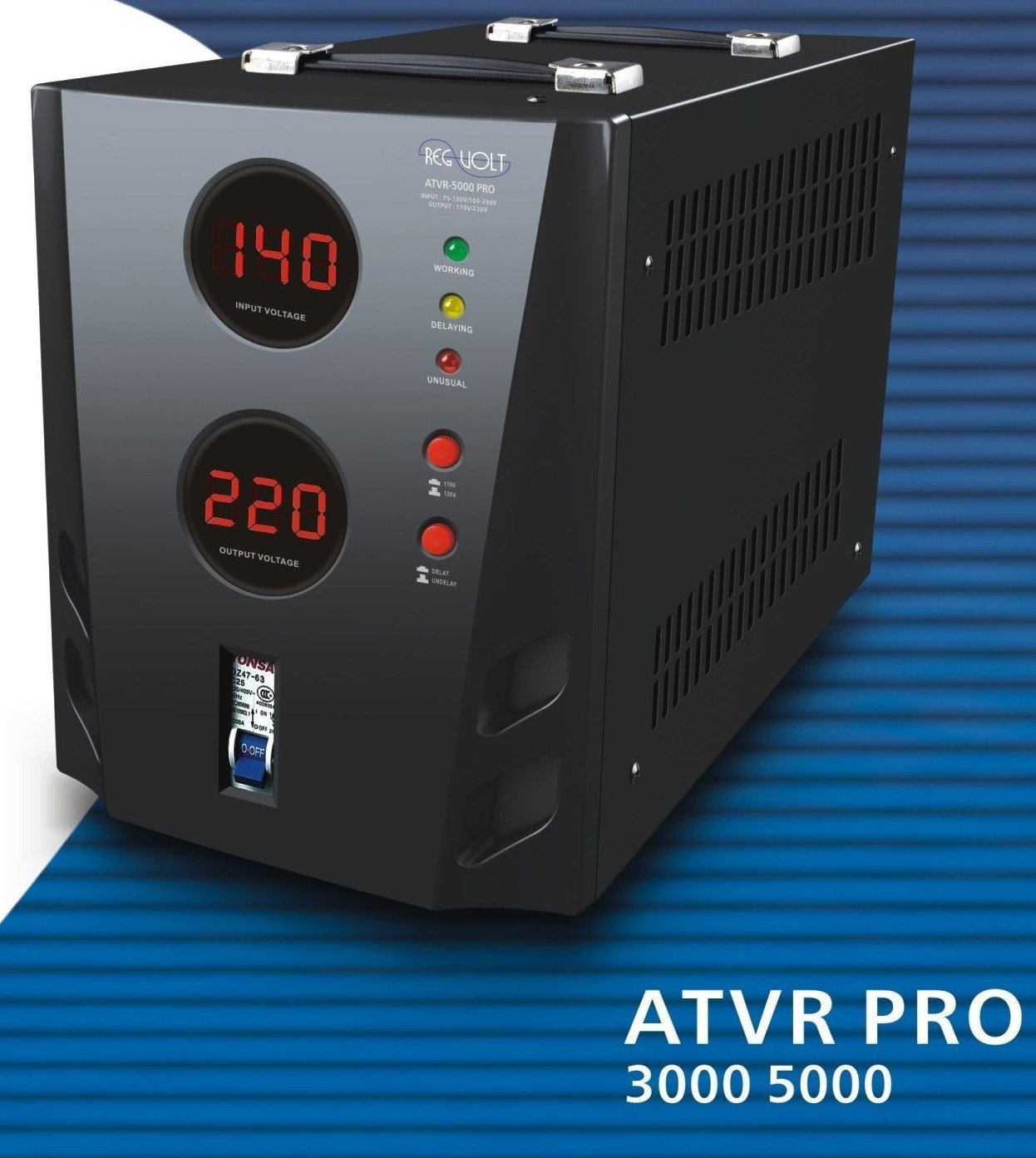Regvolt ATVR-3000 Deluxe Automatic Converter Transformer – Step Up & Down Functions with Circuit Breaker Protection by REGVOLT
