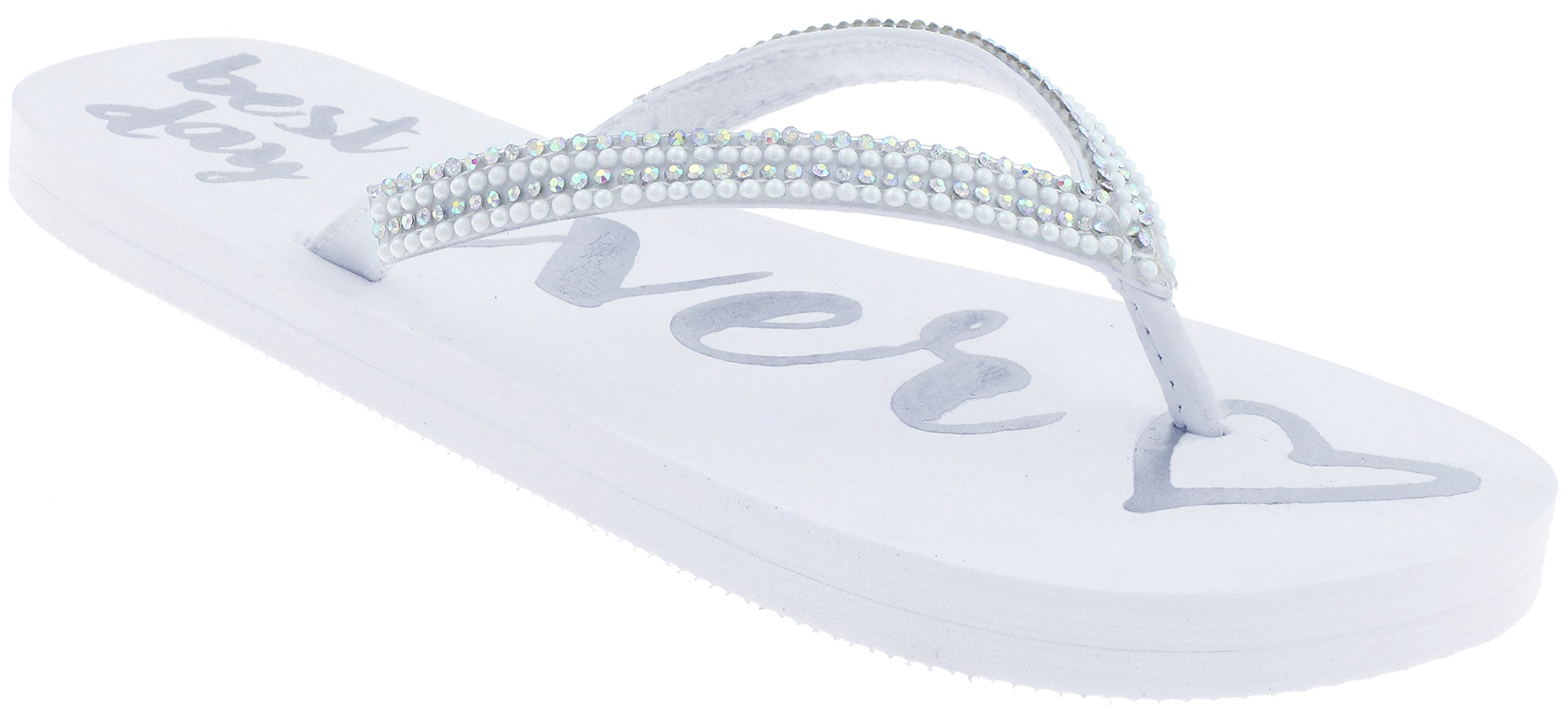 Capelli New York Ladies Fashion Flip Flops with Best Day Ever Print Silver Combo 9