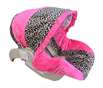 Infant Car Seat Cover Baby Slip Cheetah Minky
