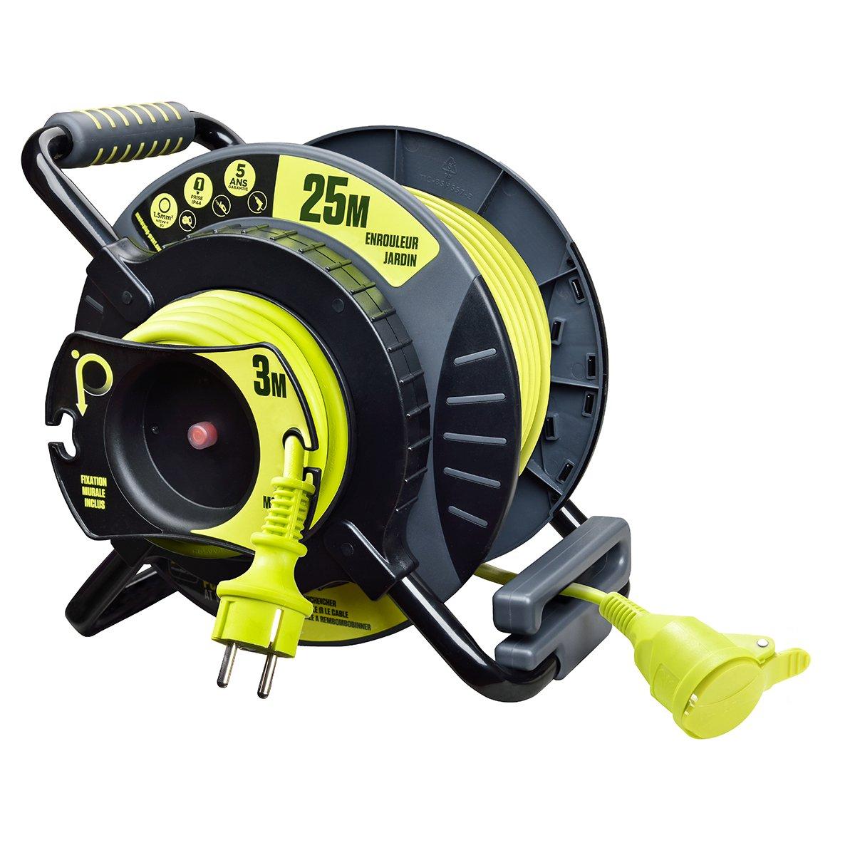 Masterplug oatrf2516fl3ip-px avvolgicavo elettrico di giardino, 220V, Nero/Giallo 220V Luceco