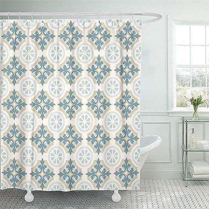 Amazon Shower Curtain Set With Hooks 72x72 Moorish Floor Tiles
