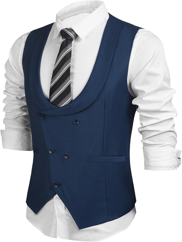 Hotouch Men's Collared Vest Sleeveless Slim Fit Casual Solid Waistcoat Gentleman Business Suit Vest Formal Suit Dress Vest