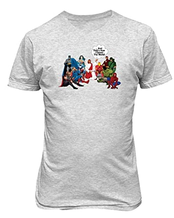 edf49f7057 Jesus and Superheroes That's How I Saved The World Christian Funny Mens  T-Shirt (