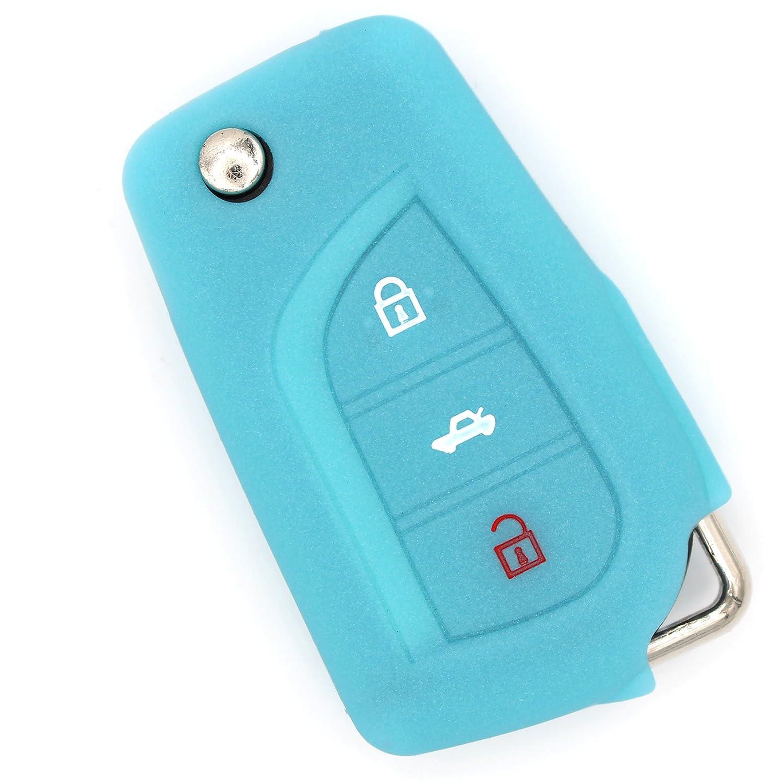 Finest-Folia a 3 pulsanti rivestimento in silicone Nero Custodia per chiave auto