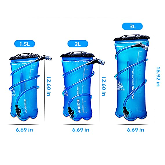 TRIWONDER 1.5-2-3L depósito de Agua de vejiga de hidratación Libre de BPA para Montar en Bicicleta Senderismo Mochila de Camping (3L / 100oz (TPU)): ...