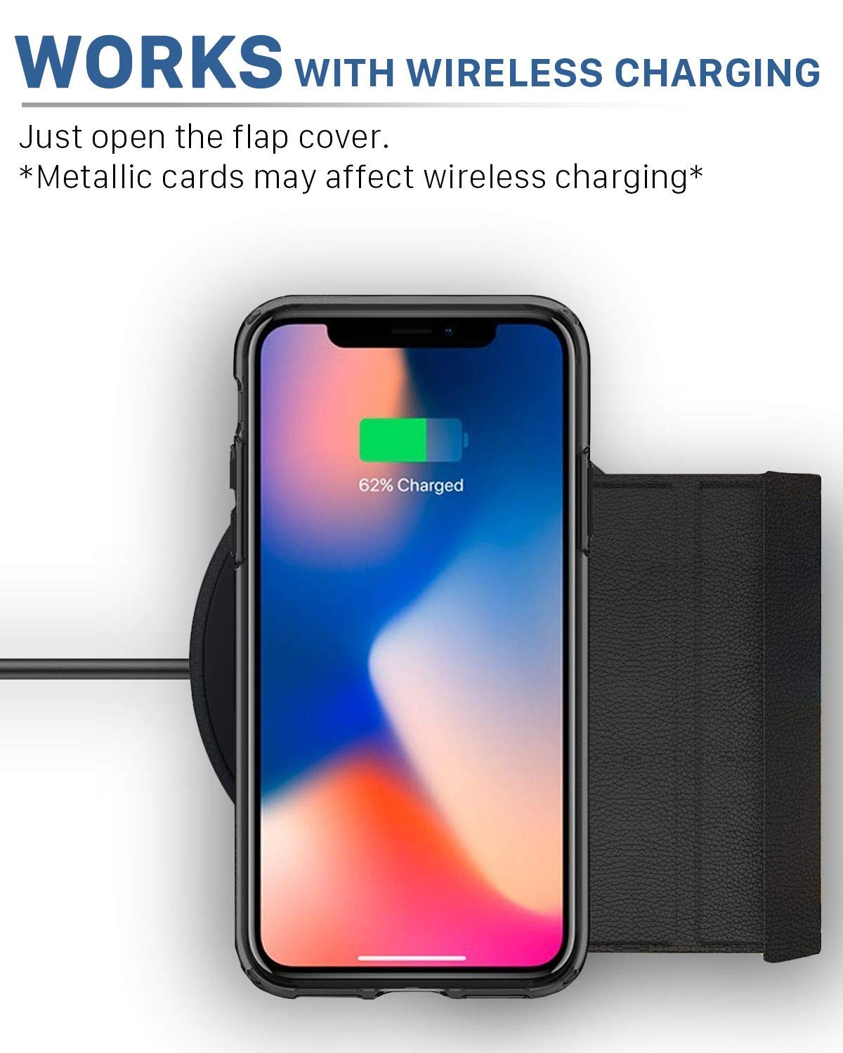 Vena iPhone Xs/X Wallet Case, [vCommute][Military Grade Drop Protection] Flip Leather Cover Card Slot Holder with Kickstand Compatible with Apple iPhone Xs 2018 / X 2017 5.8'' (Space Gray/Black) by Vena (Image #4)