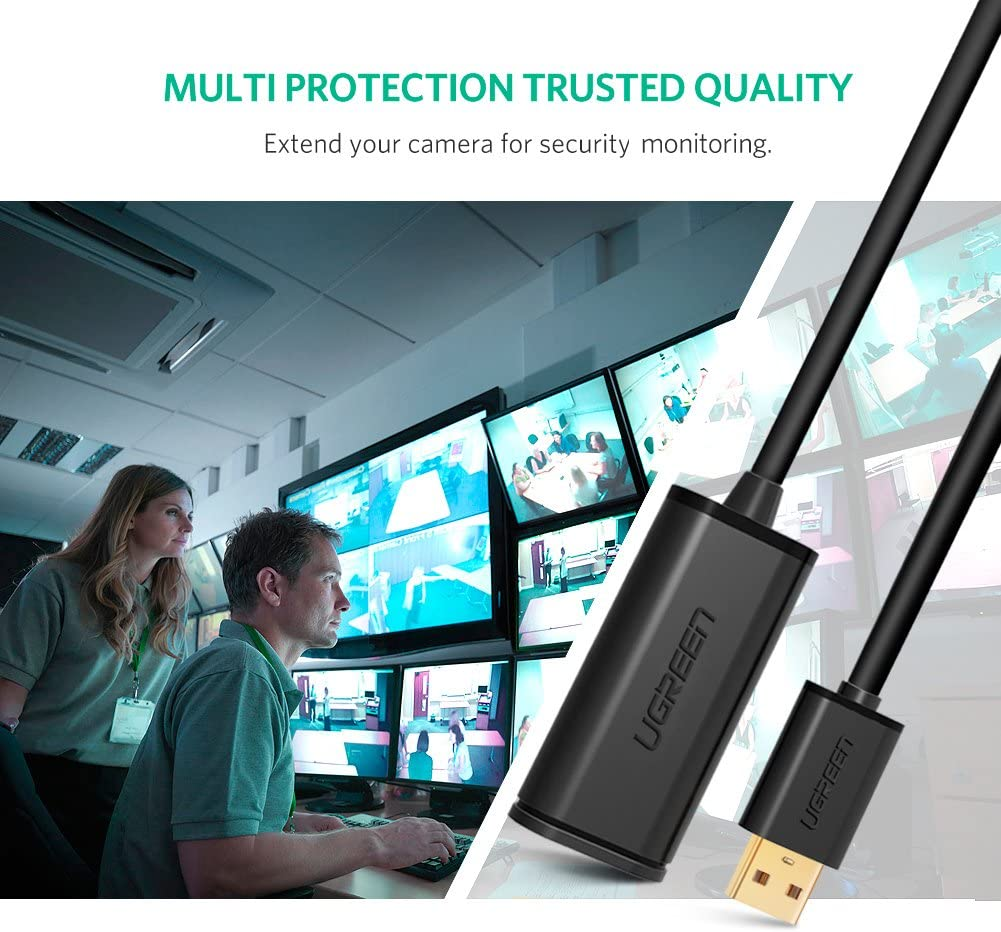 Security Camera 30FT Xbox Kinect UGREEN USB 2.0 Extension Cable Active Type A Male to Female Repeater Extender Cord for Printer Oculus Rift Webcam HTC Vive Playstation Camera USB Headset