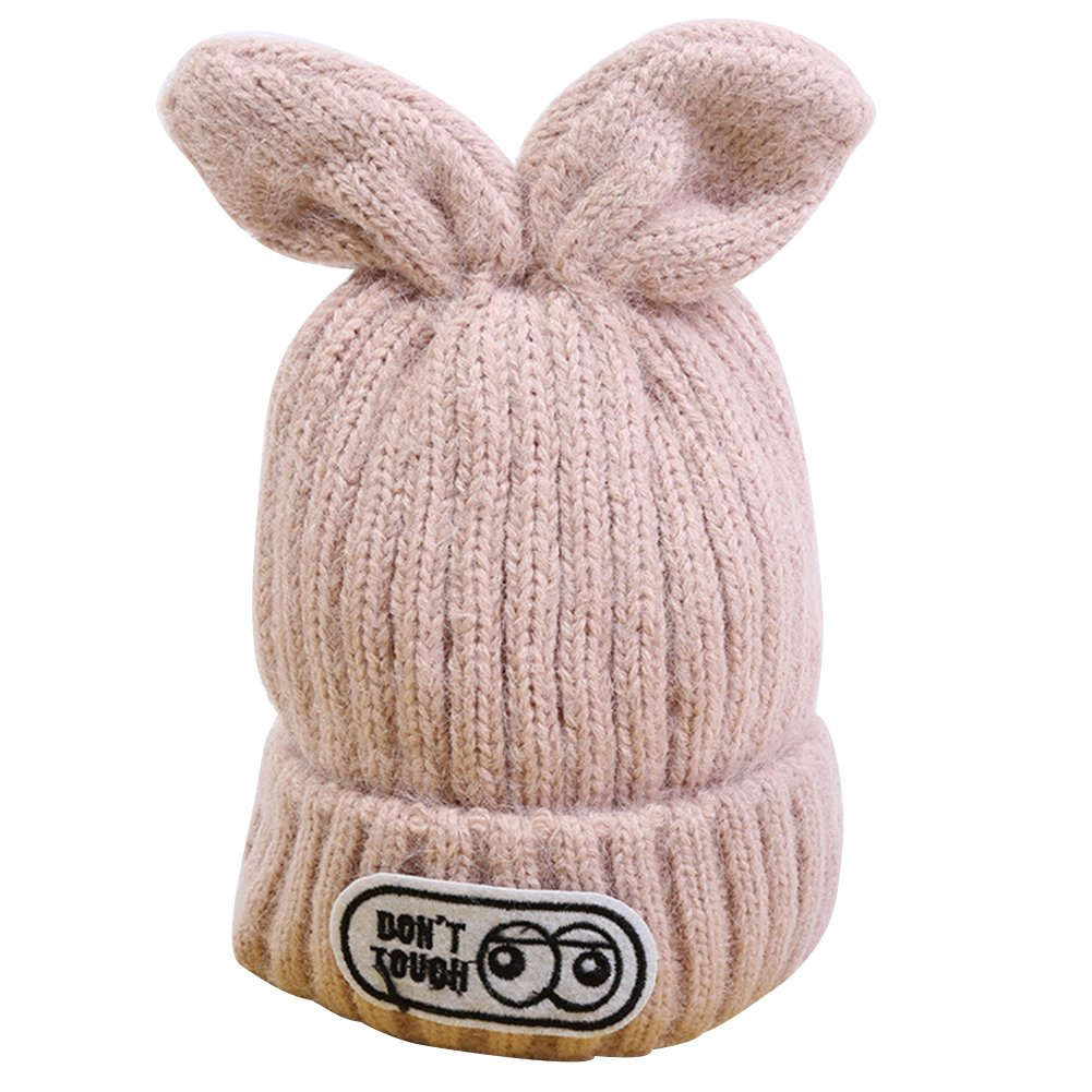 Amazon.com  EUBUY Autumn and Winter Warm Cute Bunny Earrings Crochet  Knitted Hat Baby Ski Hat Beanie Hat with Ears Beige  Sports   Outdoors 51909dae1d7