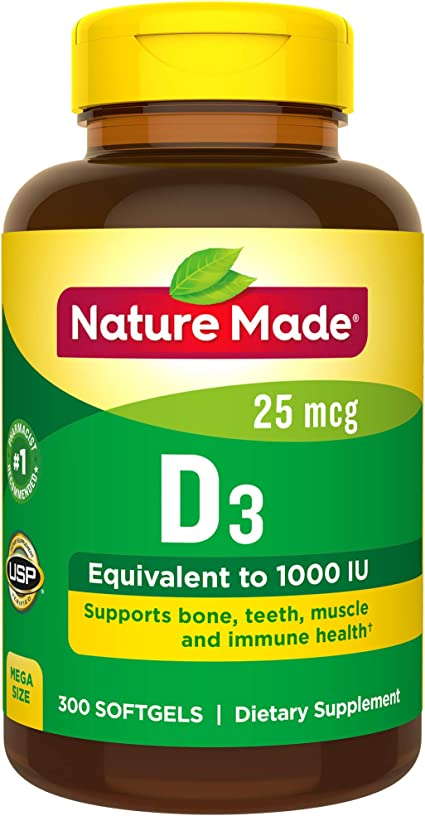 Nature Made Vitamin D3 1000 IU (25 mcg) Softgels, 300 Count for Bone Health