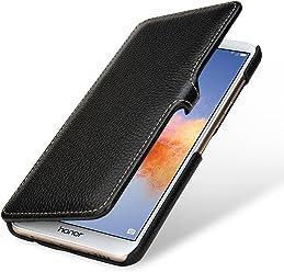 StilGut Book Type Case, Custodia per Huawei Honor 7X a Libro Booklet in Vera Pelle, Nero con Clip