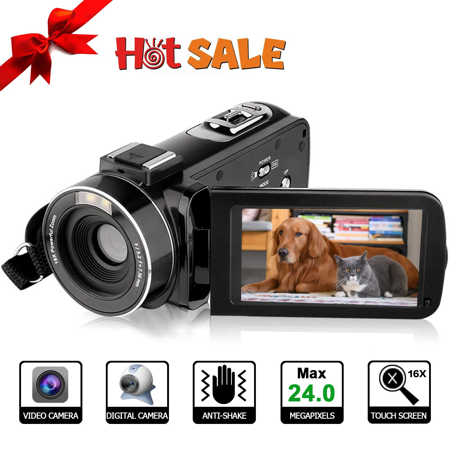 Video Camera HD Video Camcorder - Upgraded Version 1080P Camcorder Full HD Digital Video Camera, 3.0 Inch LCD 270 Degree Rotatable Screen 16X Digital Zoom YouTube Video Camera (Black)
