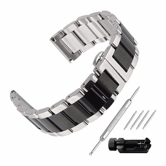 Beauty7 Correa para Reloj de Acero Inoxidable Hebilla Plateada y Negra Dos Tonos Correa con Herramientas Reemplazo Doble Claps de Bloqueo 16mm 18mm ...
