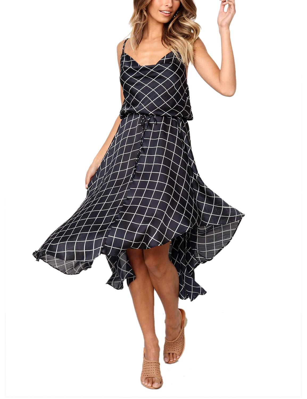 Blooming Jelly Women's Mesh Asymmetric Dress Cowl Neck Adjustable Strappy Sleeveless Elastic Back Summer Dress Drawstring Midi Dress Black