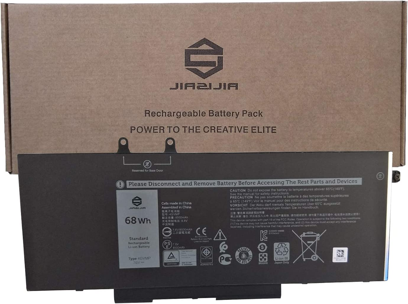 JIAZIJIA 4GVMP Laptop Battery Replacement for Dell Latitude 5400 5410 5500 5510 Precision 3540 3550 Series Notebook 1V1XF R8D7N 9JRYT 09JRYT Black 7.6V 68Wh 8500mAh 4-Cell
